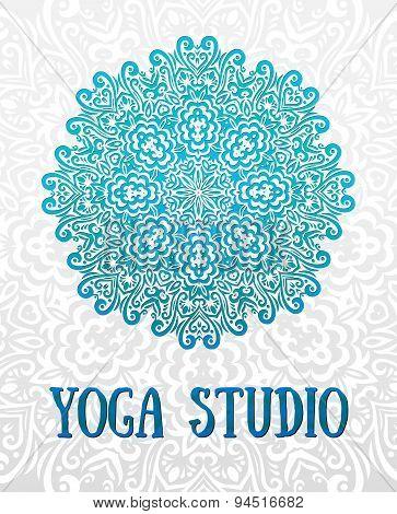 Yoga Circular Mandala. Design Sacred Spiritual Lotus, Balance And Lifestyle, Relax And Concentration