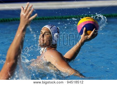 BARCELONA - MAY, 28: Norbert Hosnyanszky of ZF Eger during a LEN Champions League Final Six match against Jug Dubrovnik at the Picornell Swimming pool on May 28 2015 in Barcelona Spain