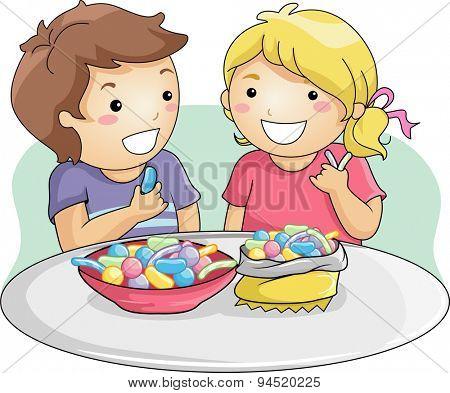 Illustration of Little Kids Eating Gummy Candies