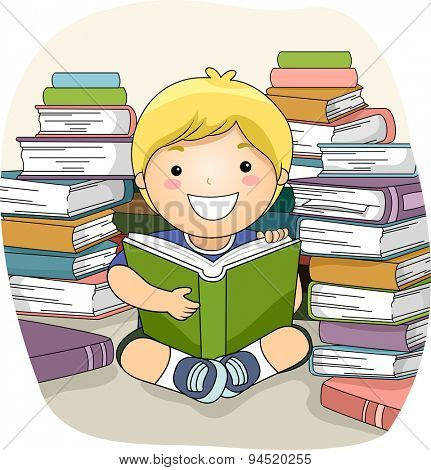 Illustration of a Little Boy Surrounded by Stacks of Books