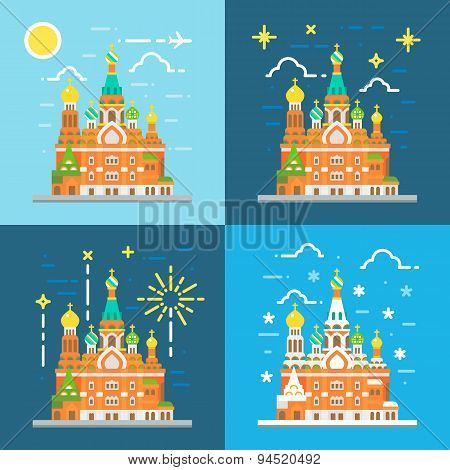 Flat Design Of Church Of The Savior On Blood Russia