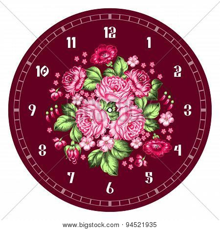 Russian Zhostovo Clock Face