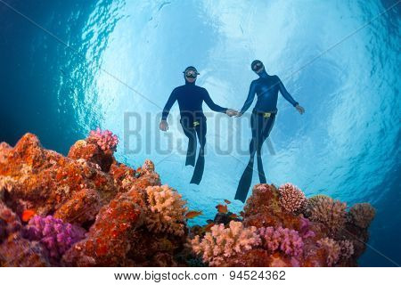 Freedivers gliding over the bright coral reef. Red Sea, Egypt