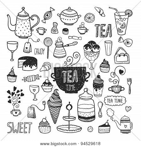 Hand drawn collection tea time