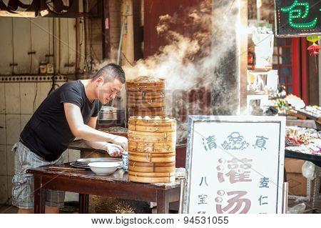 Steaming dumplings at Muslim Street