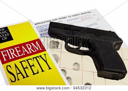 Pistol with Firearm Application and CCW Concealed Weapons Permit Fingerprint ID poster