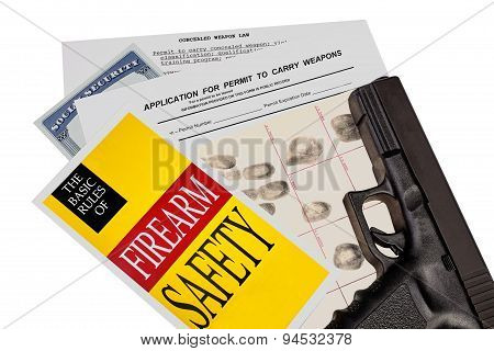 Gun With Firearm Application And Ccw Permit Fingerprint Id