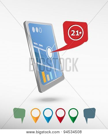 21 Plus Years Old Sign. Adults Content Icon And Perspective Smartphone Vector Realistic