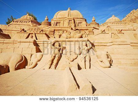 Induism Temple Large Sand Sculpture, Algarve, Portugal.