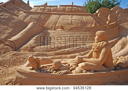 Spanish Fregat Large Sand Sculpture, Algarve, Portugal.