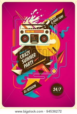 Summer party poster with abstraction. Vector illustration.