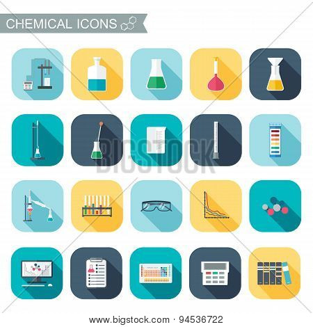 Chemical Icons. Chemical Glassware.  Flat Design. Vector