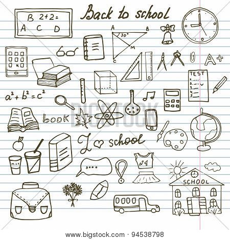 Back To School Supplies Sketchy Notebook Doodles Set With Lettering, Hand-drawn Vector Illustration
