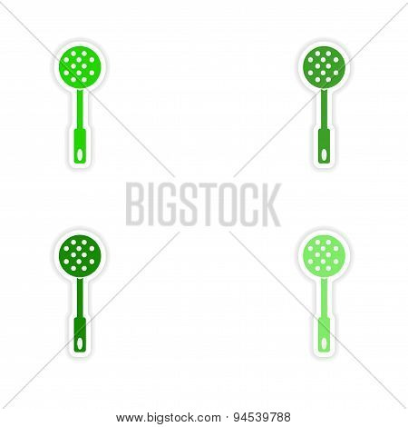 assembly realistic sticker design on paper strainer