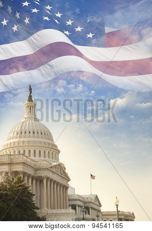 United States Capitol Building With American Flag Superimposed On Sky
