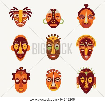 African masks set of icons