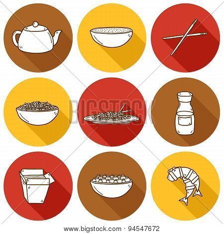 Set of cute modern hand drawn cartoon icons with shadow on chinese food theme: rice, teapot, chinese pasta, soy sause, soup, chinese sticks, chinese dumpling, shrimp. Vector ethnic chinese cuisine concept. You can use it for your site, restaurant menu