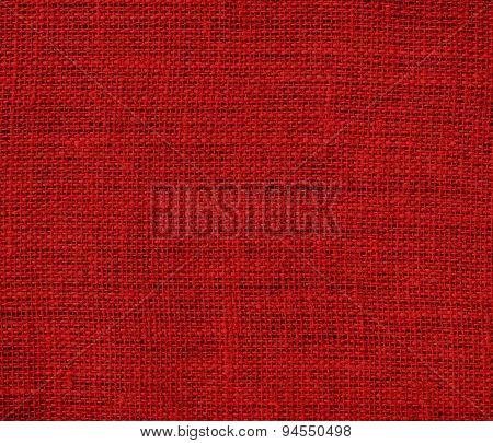 Dark candy apple red burlap texture background