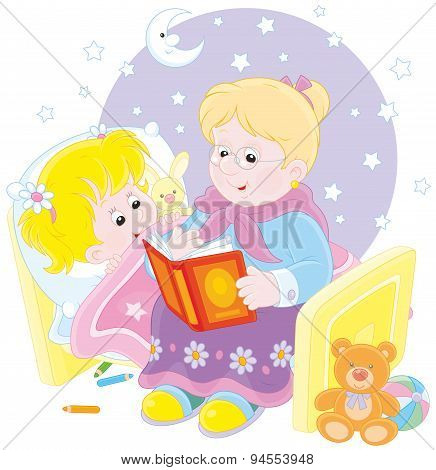 Granny and granddaughter reading