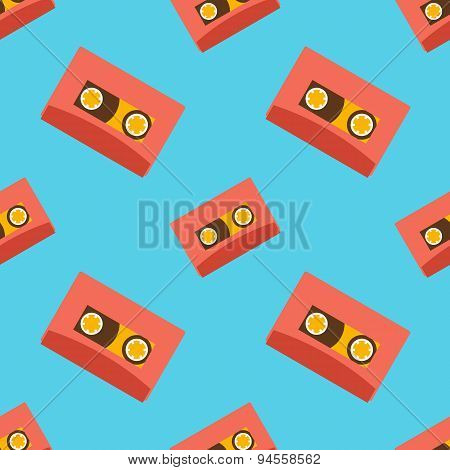Retro audio casettes seamless pattern