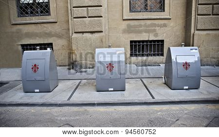 Florence. Containers For Separate Reception Of Garbage.