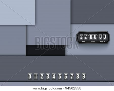 Background Unusual modern material design Coming Soon and countdown timer