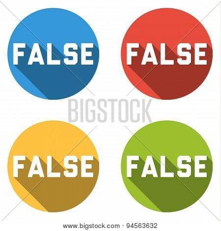 Collection Of 4 Isolated Flat Buttons For False (choice Or Vote Button)