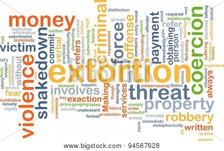 Background concept wordcloud illustration of extortion