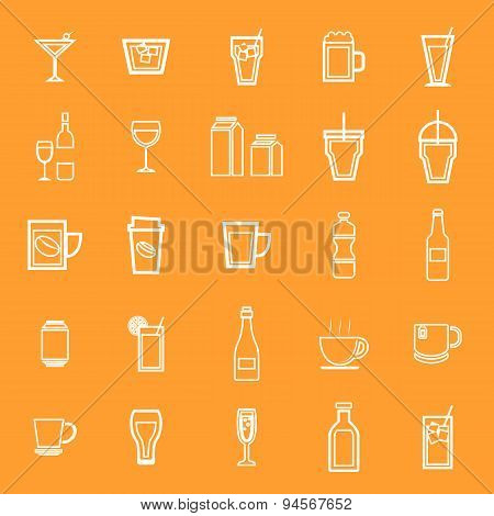 Drink Line Icons On Orange Background