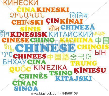 Background concept wordcloud multilanguage international many language illustration of Chinese