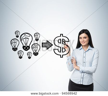 Brunette Smiling Woman Performs A Concept Of The Successful Business. Light Bulbs As 'ideas' Are Equ