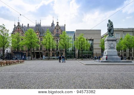 The Hague, Netherlands - May 8, 2015: People At Het Plein In The Hague's City Centre