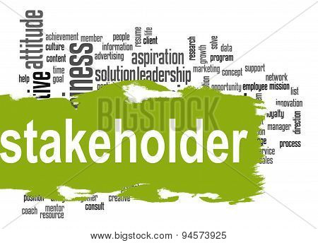 Stakeholder Word Cloud With Green Banner