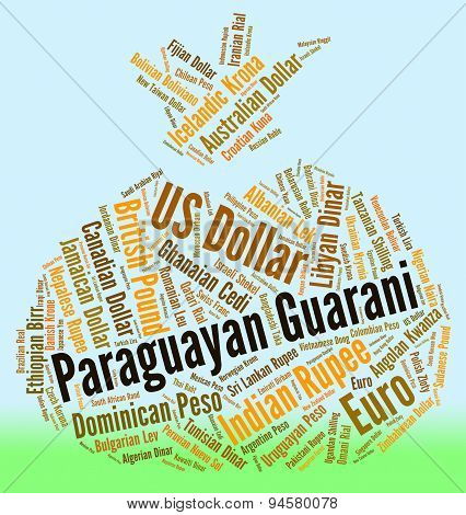 Paraguayan Guarani Shows Exchange Rate And Banknote