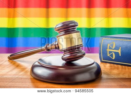 A Gavel And A Law Book - Rainbow Flag