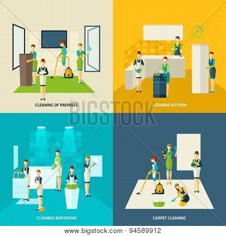 Cleaning In Rooms Flat Icons Set