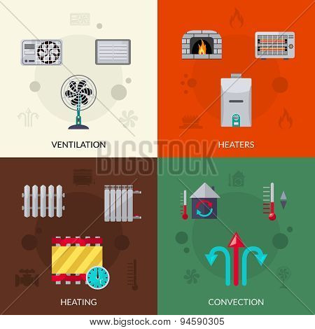 Heating Ventilation And Convection Icons Set