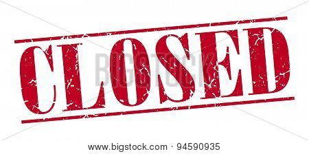 Closed Red Grunge Vintage Stamp Isolated On White Background