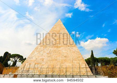 The Pyramid Of Cestius In Rome, Italy