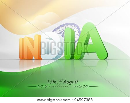 poster of Stylish 3D text India in national tricolor on glossy national flag waving background for 15th of August, Independence Day celebration.