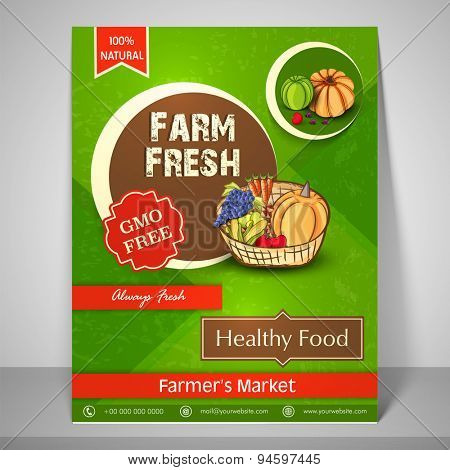 Colourful flyer or template for farm fresh farmer's market with image of fresh vegetables, fruit and mailer.
