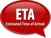 word speech bubble illustration of business acronym term ETA Estimated Time of Arrival poster