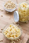 Portion of preserved Soy Sprouts (on wooden background) poster
