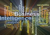 Background concept wordcloud illustration of business intelligence BI glowing light poster
