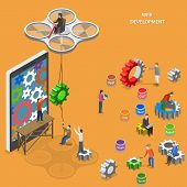 Web development flat isometric vector concept. People are painting gears and plug in them to smartphone. poster