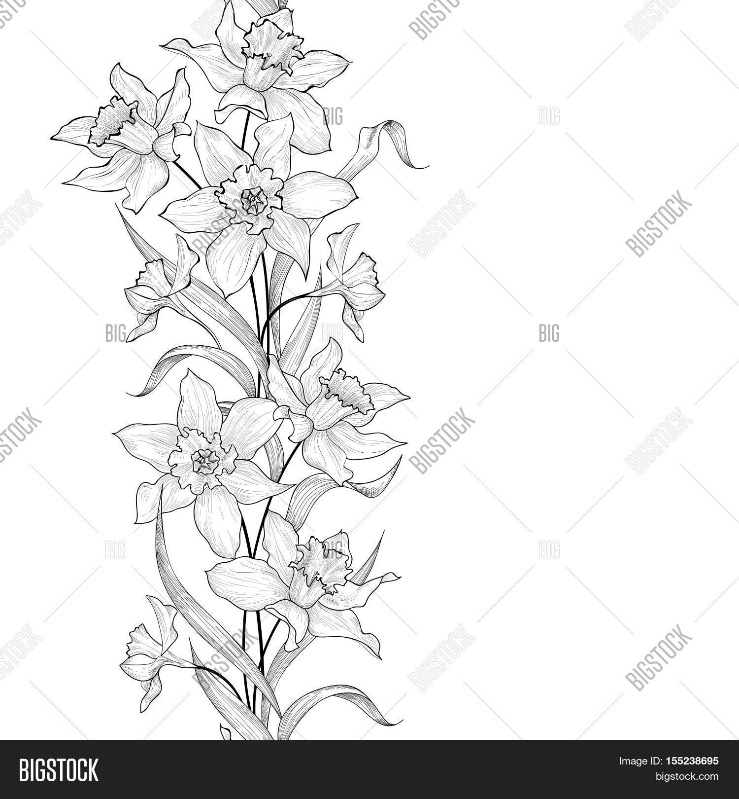 Floral Garland Seamless Pattern Flower Engraving Background Tile Ornamental Vertical Border With Flowers