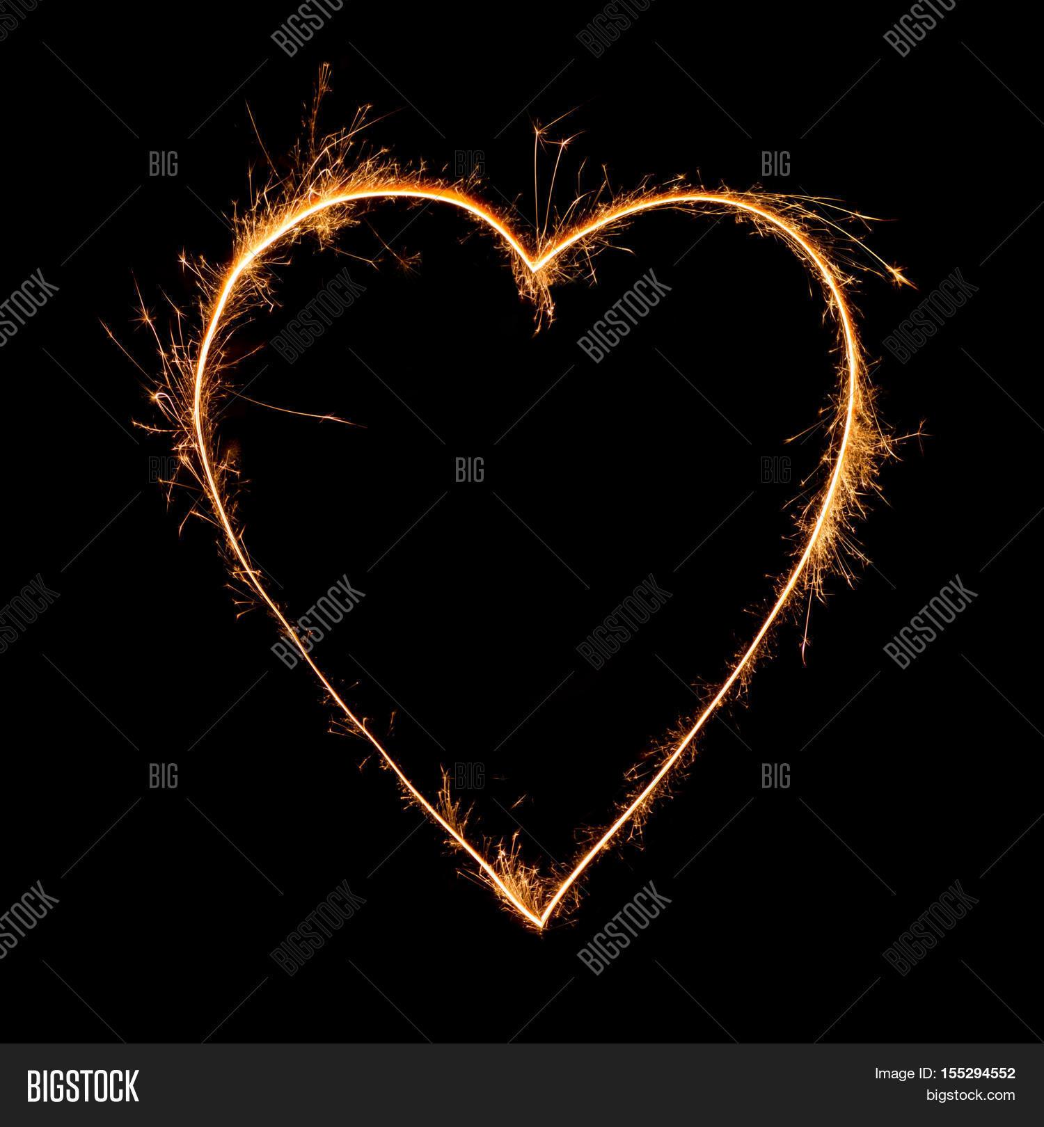 Heart Sparkler On Black Background Image Photo Bigstock