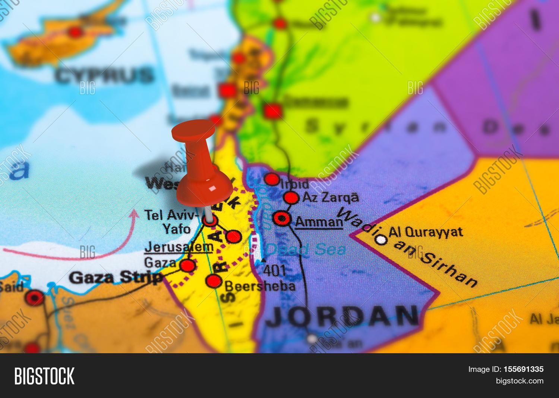 Tel Aviv Middle East Map.Tel Aviv Israel Pinned Image Photo Free Trial Bigstock