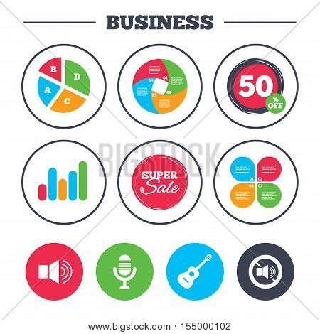 Business pie chart. Growth graph. Musical elements icons. Microphone and Sound speaker symbols. No Sound and acoustic guitar signs. Super sale and discount buttons. Vector