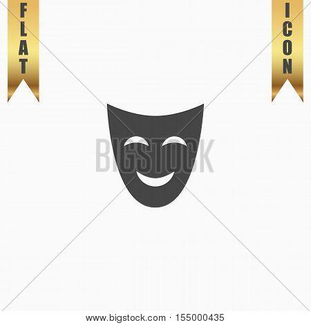 Joyful mask. Flat Icon. Vector illustration grey symbol on white background with gold ribbon
